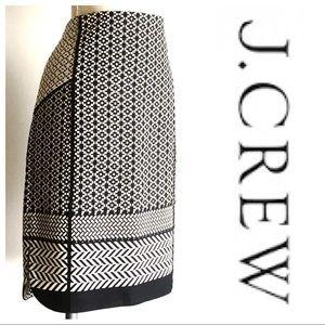 J Crew Black & Cream Pencil Skirt